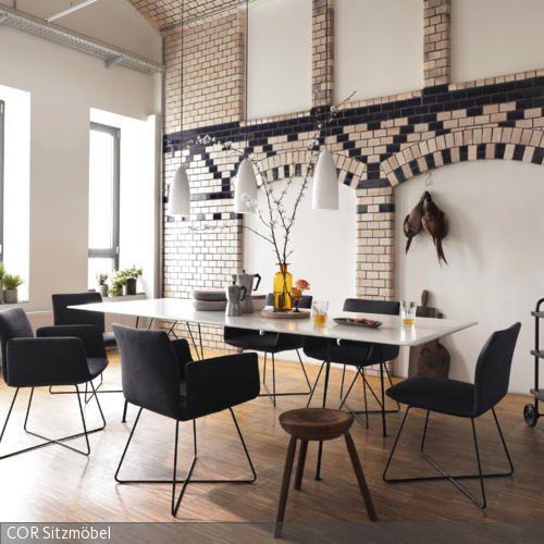 Charakteristische backsteinwand modern for Designer esstisch replica