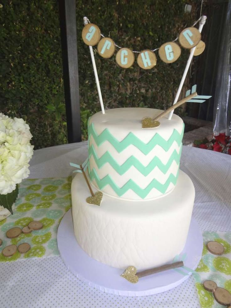 Gold & mint deer baby shower party cake! See more party planning ideas at CatchMyParty.com!