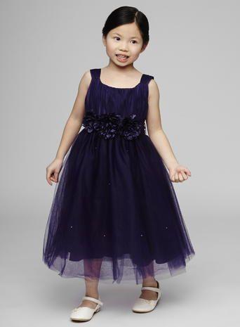 Layla Grape Flower Girl Corsage Dress