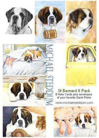 """""""Saint Bernard 8 Pack Note Card Set"""" - Michael Steddum"""