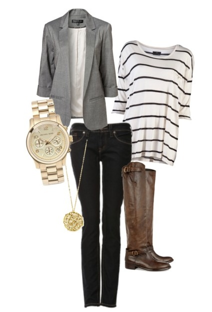 Casual work outfit. Grey blazer, stripes, jeans and boots.