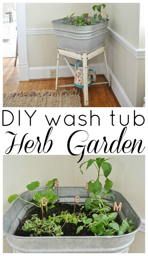 DIY wash tub herb garden - A great way to have a small herb garden inside our outside! #summercelebration
