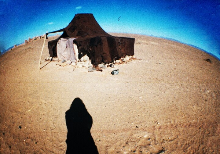 The Sahara dessert. Berber shelter in Morocco.
