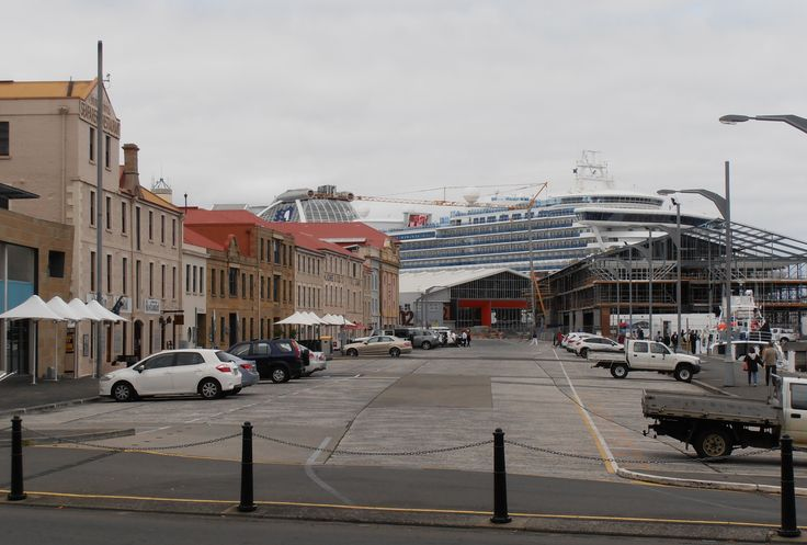 Hobart Waterfront Buildings with the Diamond Princess in the background.