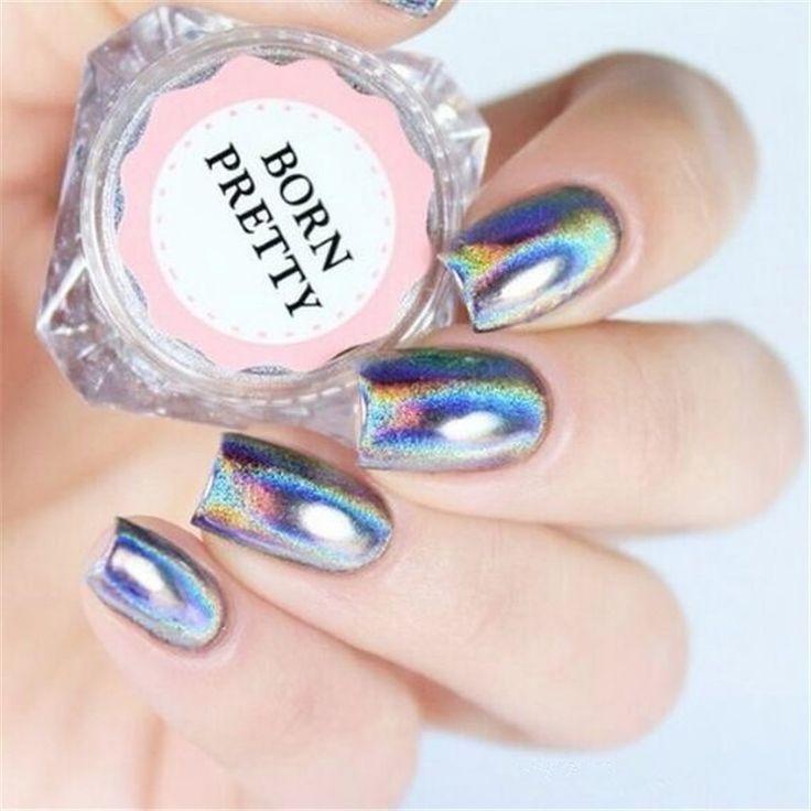 0.5 g/Box Holo Pelangi Holographic Laser Nail Glitters Nail Art Bubuk Kuku Tip Chrome Debu Manicure Nail Art Dekorasi