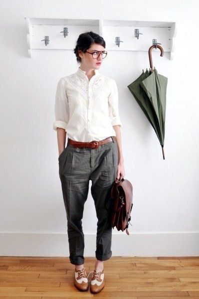 tomboy. - olive green trouser - button down shirt - think this would look great with camo trousers or shorts too
