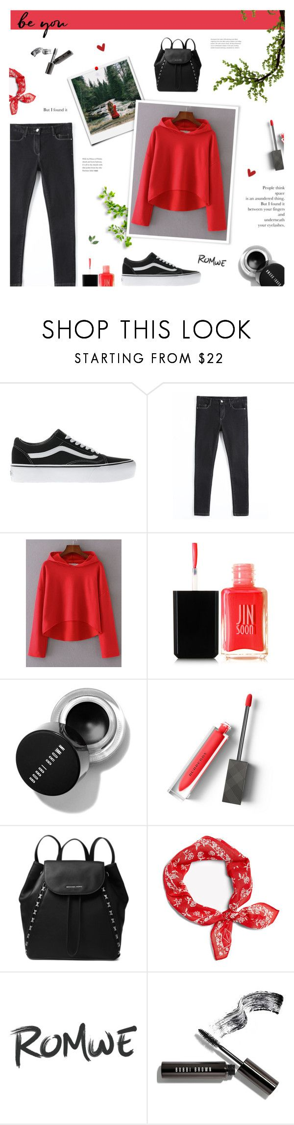 """WIN ROMWE COUPON! Read D"" by paradiselemonade ❤ liked on Polyvore featuring Vans, JINsoon, Burberry, MICHAEL Michael Kors and Bobbi Brown Cosmetics"