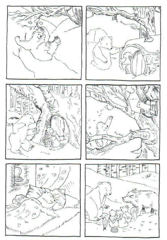 """6 images séquentielles de l'album: """" Calinours se réveille"""" d'Alain Boutin et Frédéric Stehr, édition l'école des loisirs - dis bonjour au soleil"""