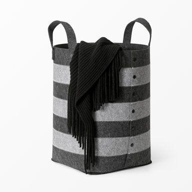 Korg med handtag, 30x30x49 cm, grå