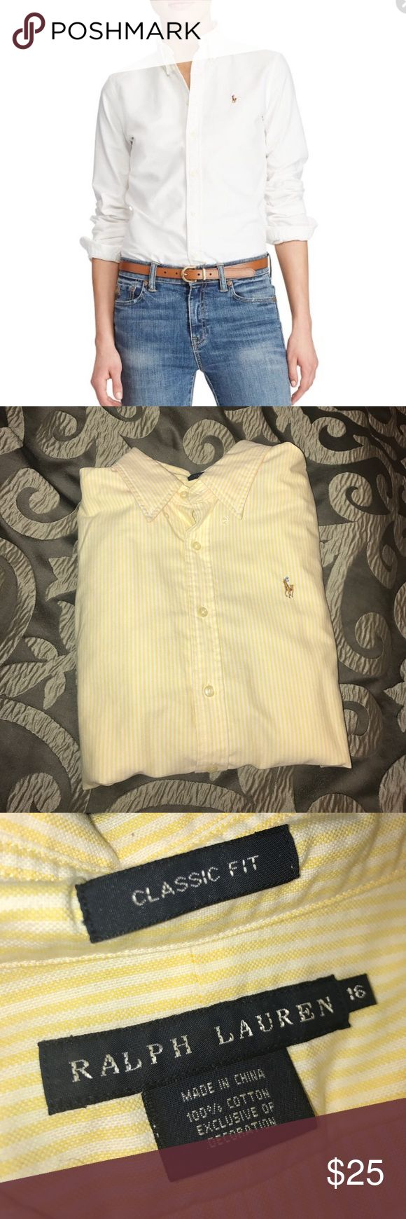 Yellow - Ralph Lauren Women's Classic Fit Oxford Ralph Lauren Women's Classic Fit Oxford in light yellow vertical stripes. Size 16. 100% cotton and machine washable. Worn once - EUC! Ralph Lauren Tops Button Down Shirts