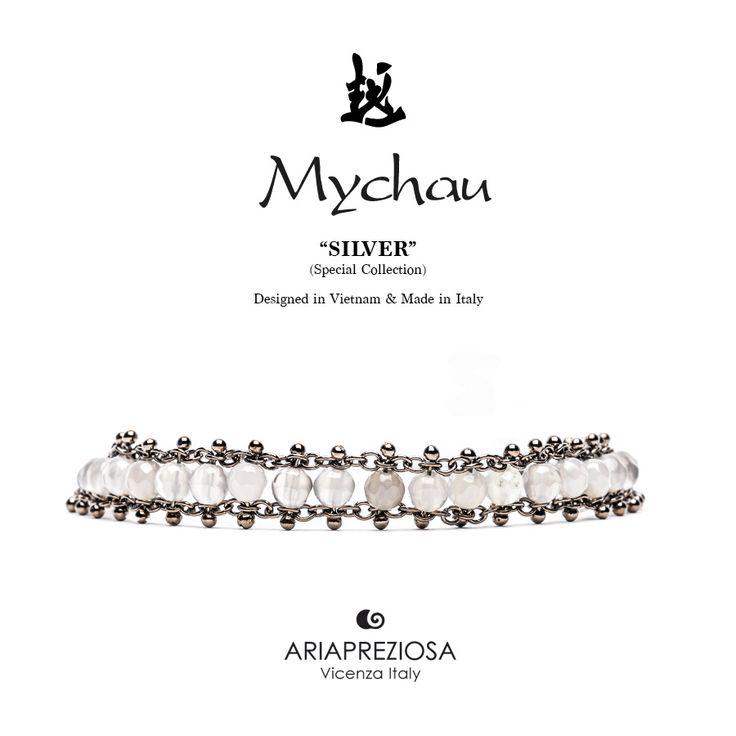 Mychau Silver - Bracciale realizzato in Argento 925‰ (galvanica chocolate) e pietre naturali Agata Ghiaccio