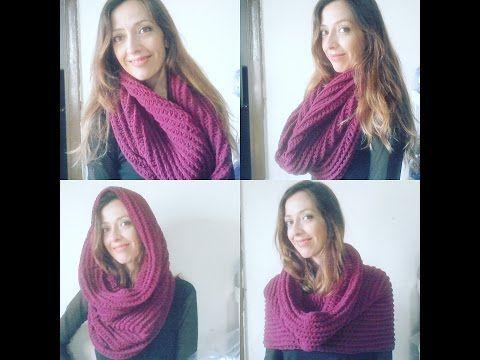 Maxi Gola ou Touca Gola em croche / Crochet hooded infinity scarf - YouTube