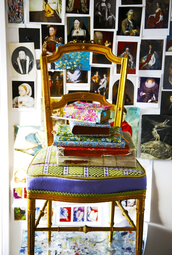 Make your own Liberty print fabric book covers: Accessorise with a wall of postcards! Photo Kristin Perers