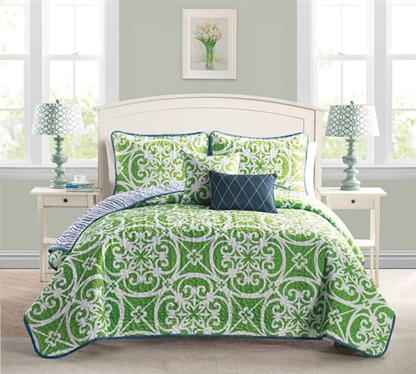 Buy 5 Piece Quilt Set Full Size and Queen Size Bedding Sets - Kennedy Green Comforter Sets