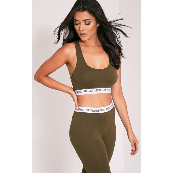 PrettyLittleThing Khaki Sports Bra - 4 (£10) ❤ liked on Polyvore featuring activewear, sports bras, green, brown jersey, athletic sportswear, green jersey and green sports bra