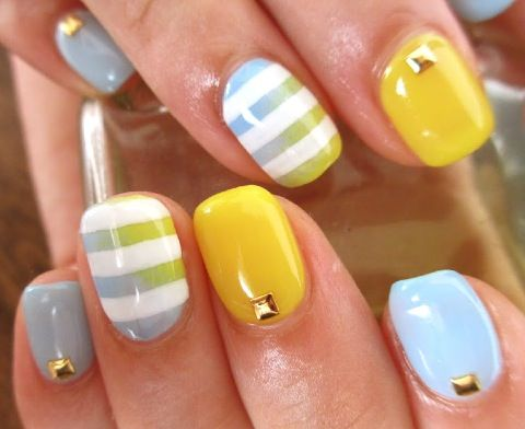 gradient, stripes, rhinestones...this look has it all!