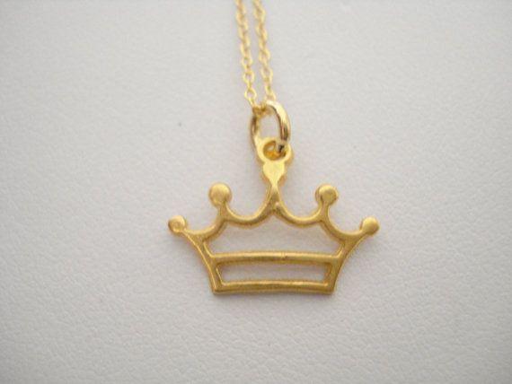 Gold crown necklace Crown necklace Gold crown charm by Poppyg