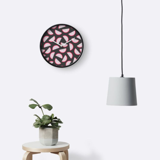 Dragon fruit Wall Clock by Anastasia Shemetova #pitahaya #pitaya #exotic #tropical #fruit #piece #slice #pink #pattern #faerieshop #dragon #home #decoration #redbubble