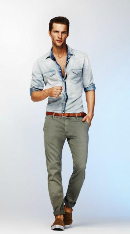 Men's Fashion: Faded Shirt, Grey Pants & Brown Belt.