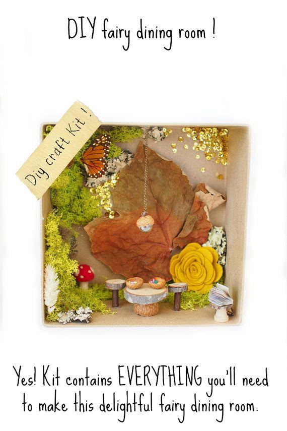 Fairy Garden Kit, DIY Fairy Dining Room Craf Kit Fairy House Furniture Kit  Nature All