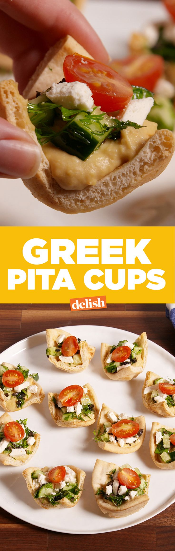 Greek Pita Cups are the healthy snack you need right now. Get the recipe from Delish.com.