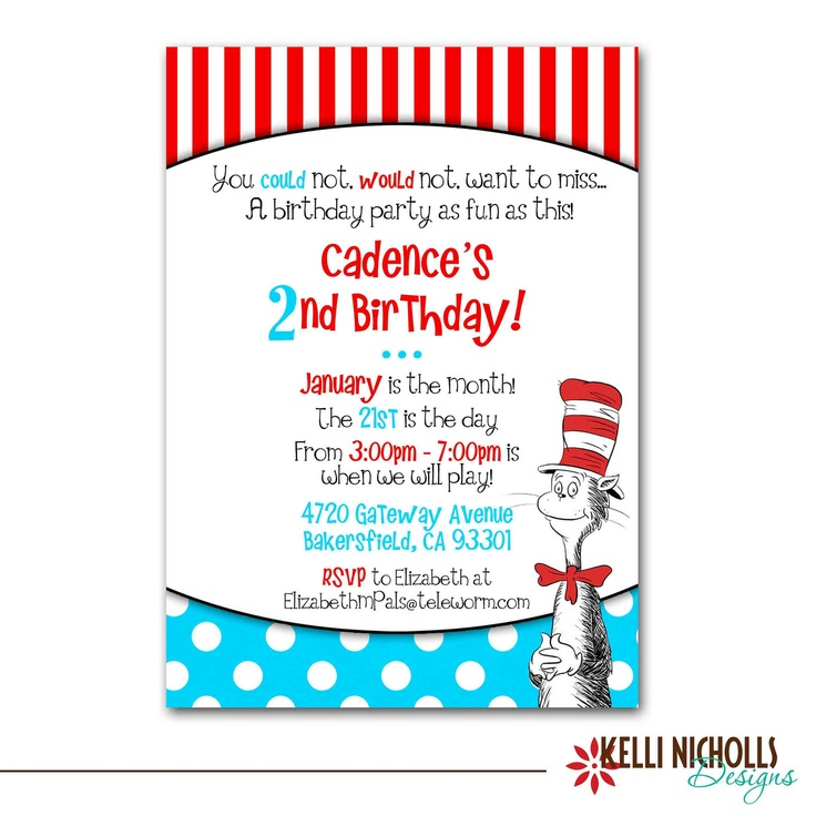 113 best Cat in the Hat, Dr. Seuss Party images on Pinterest ...