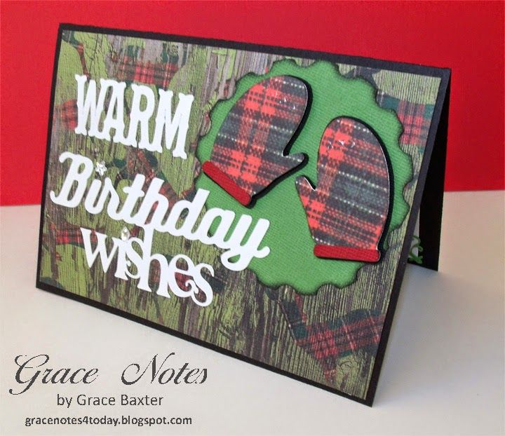 A masculine Christmas Birthday Card. Plaid mitts to match the pajamas on the deer. LOL!
