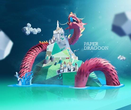 Incrível dragão de papel criado pelo pessoal do INK studio. Veja o passo a passo http://www.behance.net/gallery/Paper-Dragon/8946751