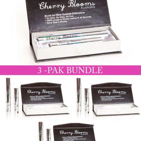 Cherry Blooms Mascara Brush On Fiber Eyelash Extension 3-Pak Bundle