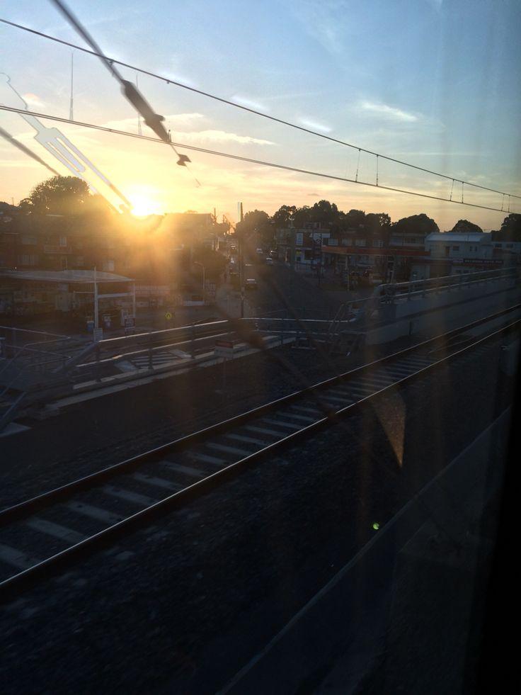 Sun, rail, wire - hard work, afternoon.