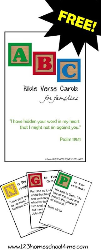 FREE ABC Bible Verse Cards for Families - a free printable to help families hide God's word in their heart.