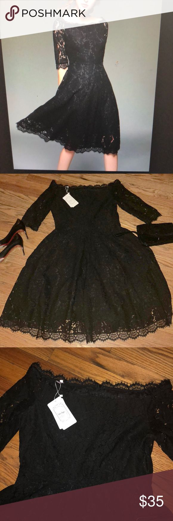 FIT n FLARE Black Lace Dress FIT n FLARE Black Lace Dress. US Size 8; Gorgeous Boat neck, 3/4 sleeves, Back zip, Fully lined Lace 👗 Dress! You are sure to turn heads in this Hot Number!! Absolutely Gorgeous! Christian Louboutin Dresses