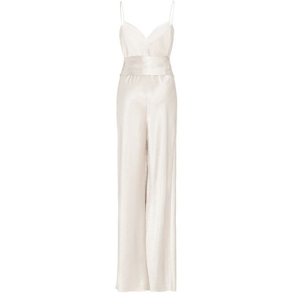 Galvan M'O Exclusive Cuzco Jumpsuit ($1,195) ❤ liked on Polyvore featuring jumpsuits, silver, tie belt, white jumpsuits, silver jumpsuit, white v neck jumpsuit and white jump suit