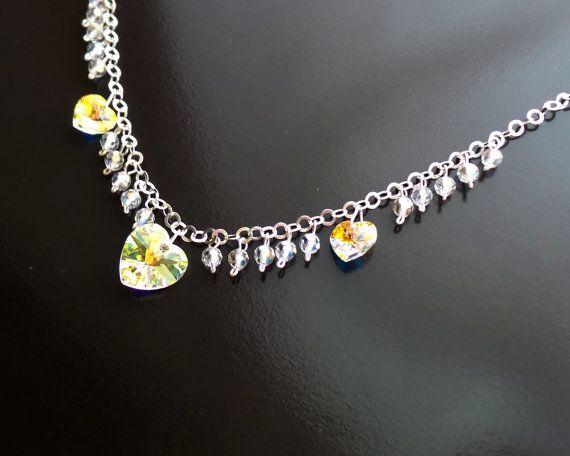 Passion Swarovski Crystal Heart Statement Necklace Sterling