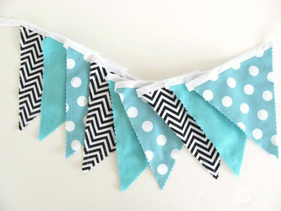 Items Similar To Baby Boy Birthday Party Decoration Fabric Flags Banner Wedding Garland Aqua Blue Black White Chevron Turquoise Bunting Photo Prop On