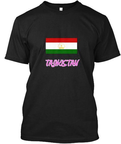 Tajikistan Flag Artistic Pink Design Black T-Shirt Front