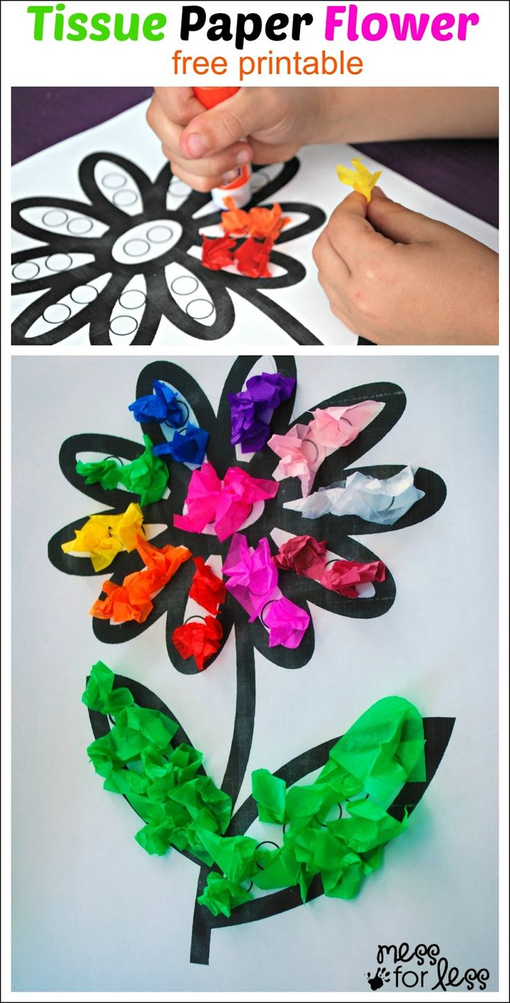 Tissue Paper Flower Art Activity - cute craft and fine motor idea