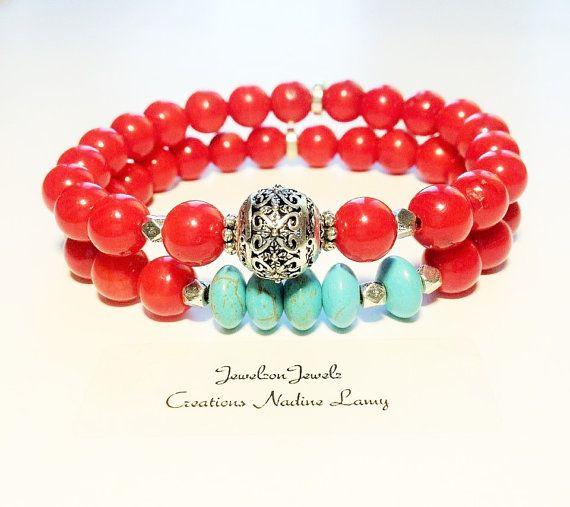 Coral Turquoise bracelet set//Turquoise by JewelzonJewelz on Etsy