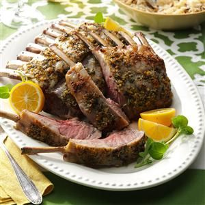 Mediterranean Rack of Lamb Recipe -It's elegant. It's special. And it will have your guests thinking you went all out. They don't have to know how simple it is. —Susan Nilsson, Sterling, Virginia