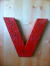 """INDUSTRIAL RED METAL WALL LETTER """"V"""" 20"""" TALL rustic vintage decor novelty sign"""