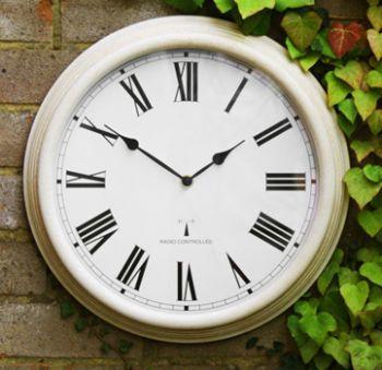 "Perfect Time Radio Controlled Outdoor Garden Clock - Antique White - 38cm (15"")"