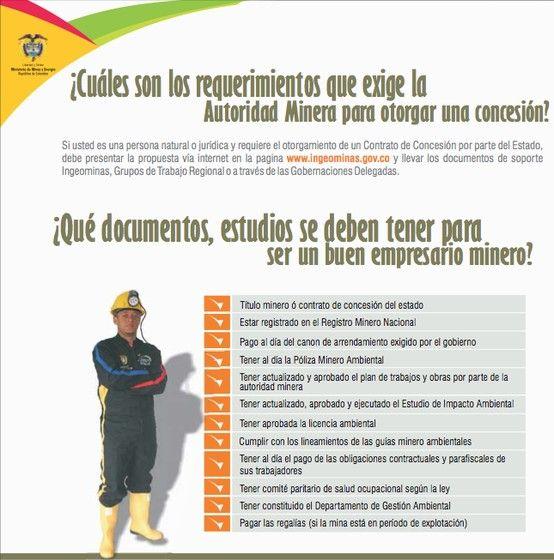 Conozca cuales son los requerimientos que exige la autoridad minera en Colombia para otorgar una concesión.