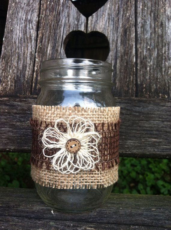 Burlap Jar Wraps CountryFall Wedding Set of 2 by DaisyDazeDesign, $11.50
