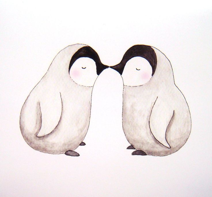 Penguin Love Illustration Print Cute Kiss Grey Pink Black White Home Wall Decor Nursery Art 5x7