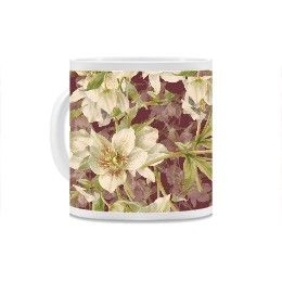 Red speckled white Hellebores on dark red Mug