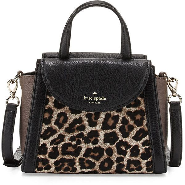 kate spade new york cobble hill adrien small calfhair satchel bag ($415) ❤ liked on Polyvore featuring bags, handbags, leopard, color block purse, colorblock handbags, top zip satchel, leopard print purse and color block handbag