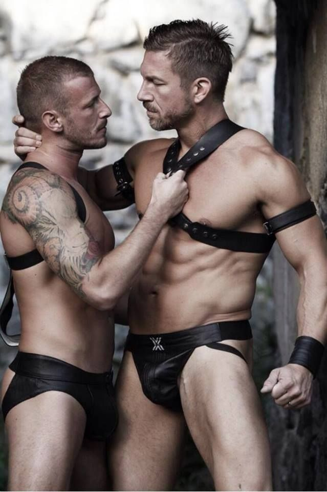 Harness bondage male leather