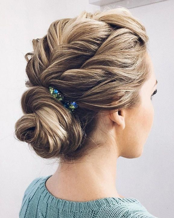 Loose Braided Updo Hairstyle Prom Hairstyles Bridal Hairstyle Ideas Wedding Updo Wedding Hairs In 2020 Medium Hair Styles Asymmetrical Hairstyles Hairstyles With Bangs