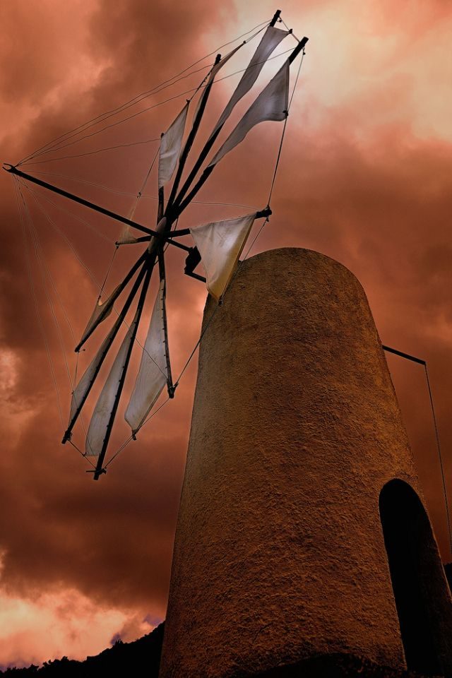 Windmill at Lasithi plateau on Crete, Greece