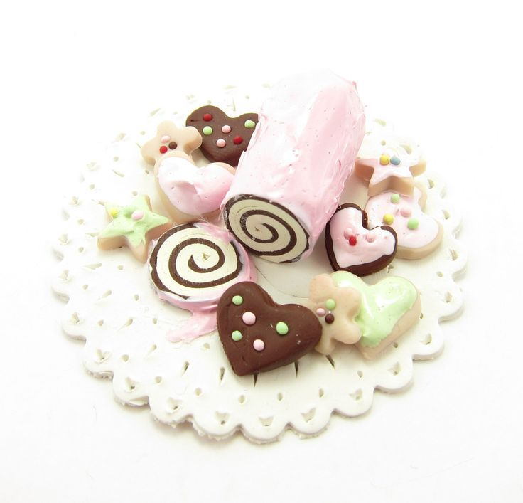 Miniature Swiss Roll & Cookie Platter - Polymer Clay Dollhouse ...
